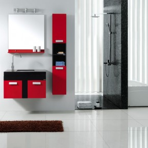 bathroom modern red&black set